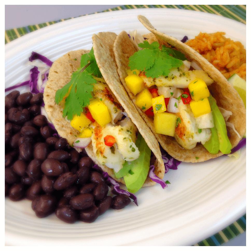 No Name® Cilantro Lime Tilapia Tacos with Mango-Jicama SalsaNo