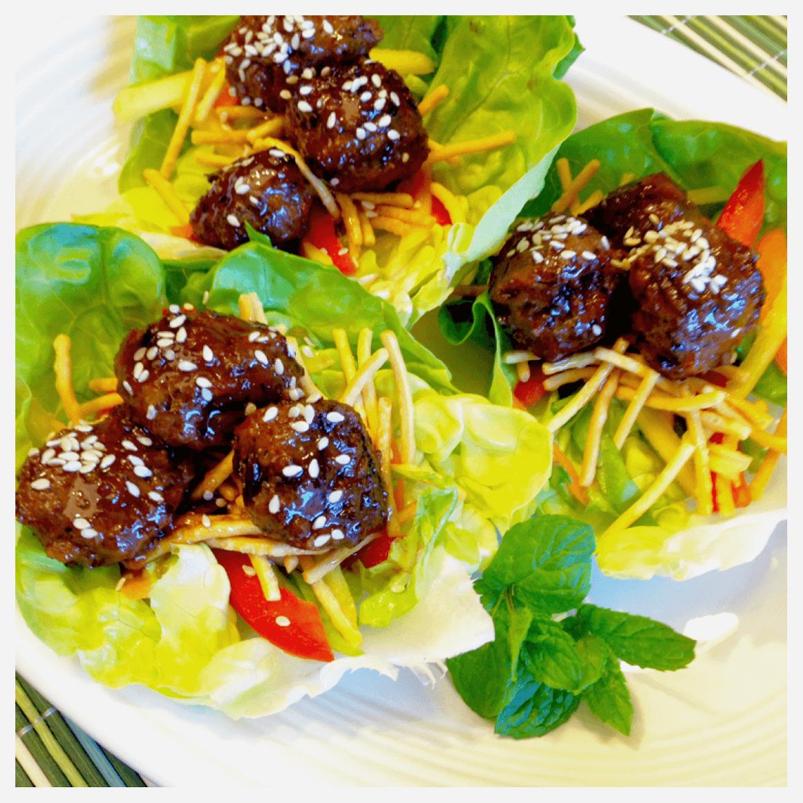 For seven Asian meatballs on snow peas picks