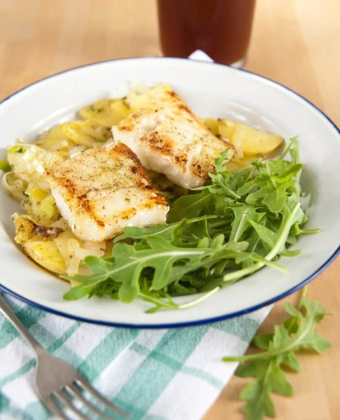 grilled fish and potatoes